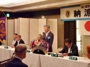 例会は布施茂雄会長の挨拶で始まりました