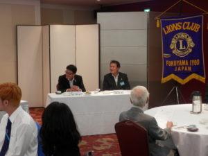 1R.RC.(Region Chairperson)栗山様、1R.3Z.ZCA.(ZC.Assistant)箕嶋様の訪問例会でした。